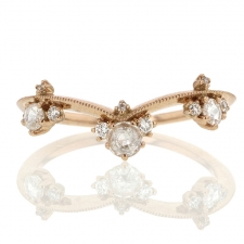 Curved Diamond Crown 18k Rose Gold Ring Image