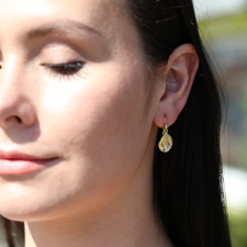 18k Gold Dew Drop Leave Earrings with Diamonds Image