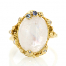 Moonstone Diamond and Sapphire 18k Gold Ring Image