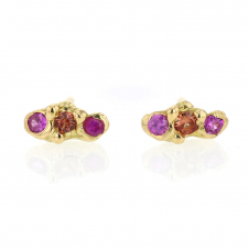 Ruby and Sapphire Gold Cloud Stud Earrings Image