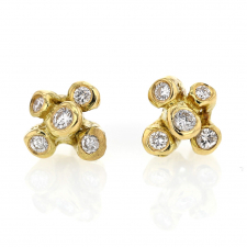 Large Sea Anemone Gold Diamond Post Earrings Image