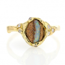 Australian Boulder Opal Ring with Diamonds Image
