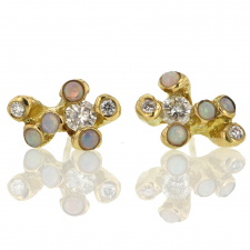 Little Dipper Opal and Diamond Gold Post Stud Earrings Image