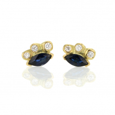 Marquise Blue Sapphire and Diamond Starburst Stud Earring Image