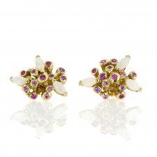 Starburst Opal and Pink Sapphire Post Stud Earrings Image