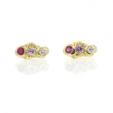 Ruby, Pink Sapphire and Diamond Cloud Stud Earrings Image