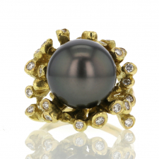 Round Black Tahitian Pearl 18k Gold Ring with Diamonds Image