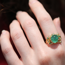 Emerald Ring with Diamond and Emerald Accents Image