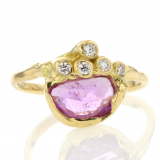 Rose Cut Pink Sapphire and Diamond Gold Ring Image