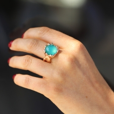 Peruvian Opal 18k Rose Gold Ring with Diamonds Image