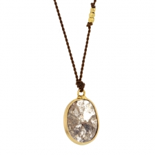 Rose Cut Diamond 18k Nylon Cord Necklace Image