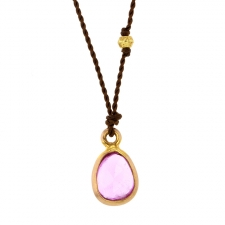 Pink Fancy Small Sapphire Nylon Cord Necklace Image