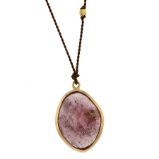Large Pink Sapphire Nylon Cord Necklace Image