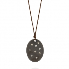 Oval Blackened Silver Disc Necklace with Diamonds Image