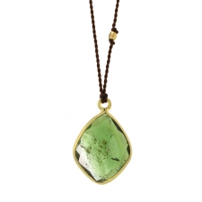 Green Tourmaline Free form Cord Necklace Image