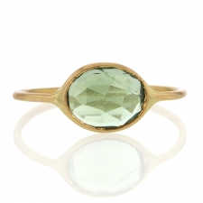 Faceted Green Tourmaline 18k Yellow Gold Open Backed Ring Image