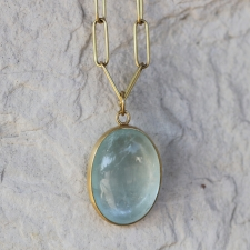 18k Gold Aquamarine Cabachon Pendant (Chain Sold Separately) Image
