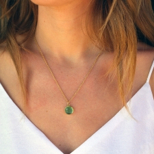 Green Tourmaline Round Cabachon Pendant (Chain Sold Separately) Image