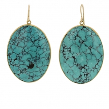 Large Oval Turquoise 18k Gold Earrings Image