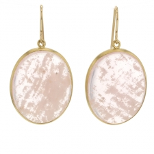 Rose Quartz Oval Gold Cabachon Earrings Image