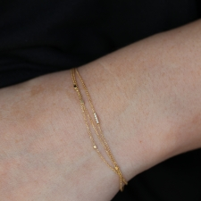 Triple Gold Chain Bracelet with Diamond Pave Bar Accent Image