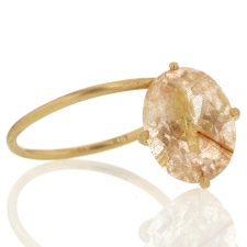 Rutilated Quartz 18k Gold Drop Ring Image