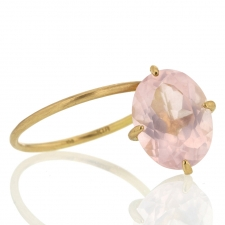 Rose Quartz Drop 18k Gold Ring Image
