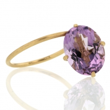 Pink Amethyst 18k Gold Drop Ring Image