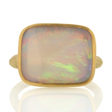 White Opal 18k Gold Rope ring Image