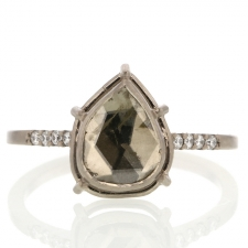 Greenish Diamond Slice Solitaire with Pave Shoulder Band Image