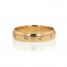 18k Rose Gold Cloak Band Ring with Diamonds Image