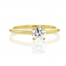 Recycled Diamond Solitaire 18k Yellow Gold Ring Image