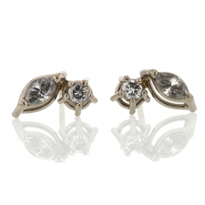 Gray Marquis and Round Diamond Earrings Image