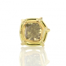 Single Foggy Diamond Slice Gold Post Stud Earring 2 Image