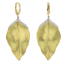 Hanging Leaf Gold Earrings Image