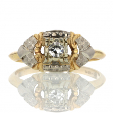 Vintage 18k White Gold and 14k Yellow gold Diamond Ring Image