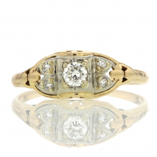 Vintage 14k Yellow Gold Diamond Ring with 18k White Gold Image