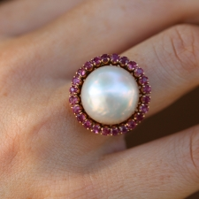 Vintage Mabe Pearl and Ruby Ring Image