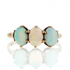 Vintage Triple Opal 14k Gold Ring Image