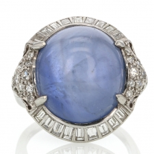 Blue Star Sapphire and Diamond Art Deco Ring Image