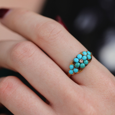 Vintage Victorian Paved Turquoise Ring with Diamond Accent Image