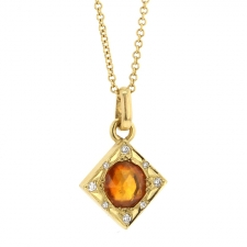 Orange Sapphire and Diamond Necklace Image