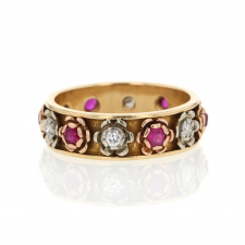 Flower Ruby and Diamond Gold Ring Image