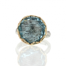 Blue Topaz Textured Silver and Gold Ring Image