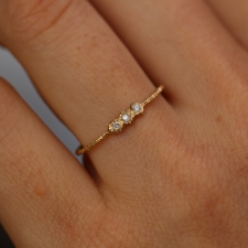 Triple Etched Gold Band with Diamonds Image