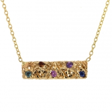 Gold Bar Multi Sapphire Necklace Image