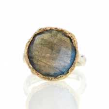 Round Labradorite Silver and Gold Ring Image