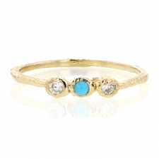 Gold Turquoise and Diamond Ring Image