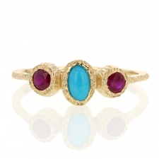 Turquoise and Ruby Gold Etched Ring Image
