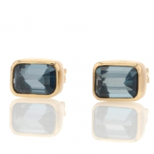 Inverted Faceted London Blue Topaz Stud Earrings Image
